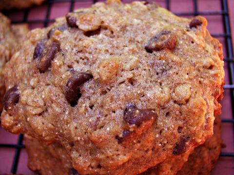 Oatmeal cookies that get rid of three old bananas and help with a chocolate craving