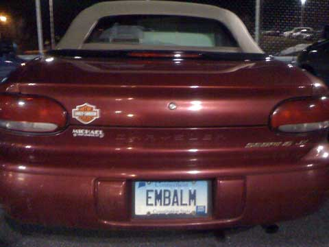 Embalm License Plate